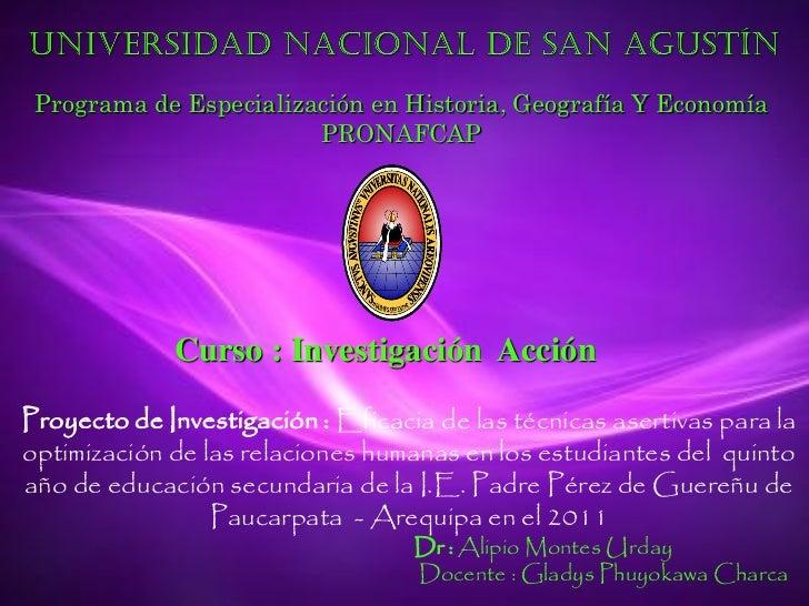 Programa de Especialización en Historia, Geografía Y Economía                        PRONAFCAP             Curso : Investi...