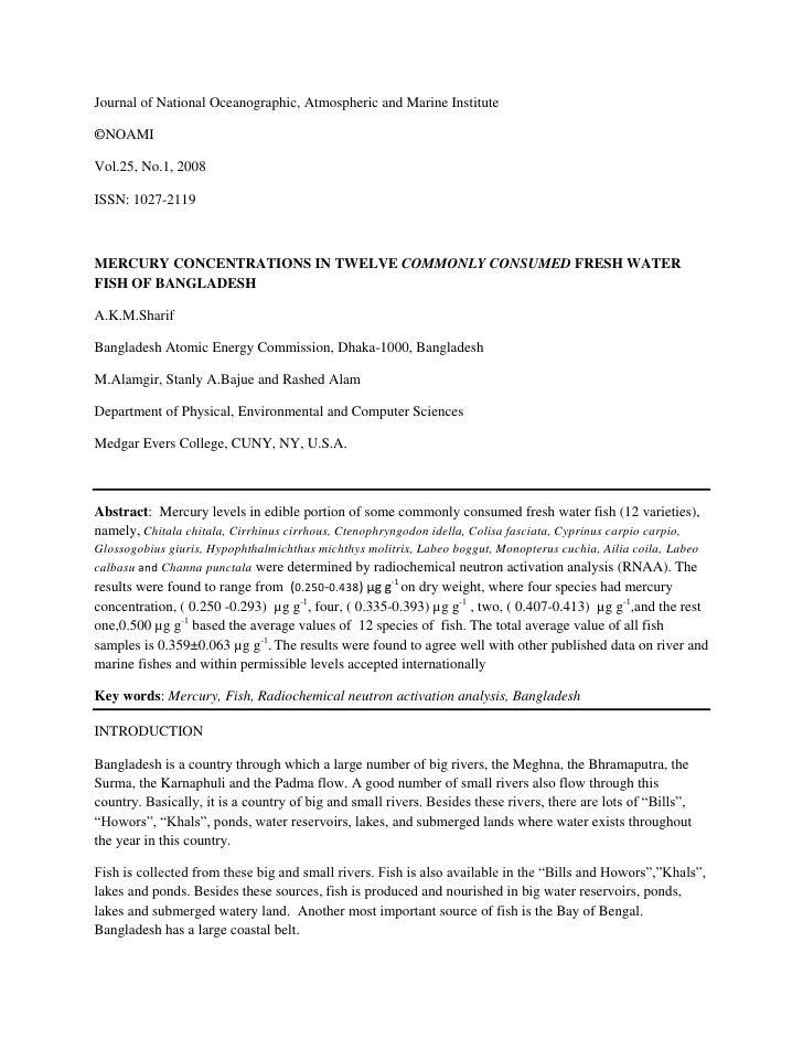 Journal of National Oceanographic, Atmospheric and Marine Institute  ©NOAMI  Vol.25, No.1, 2008  ISSN: 1027-2119    MERCUR...