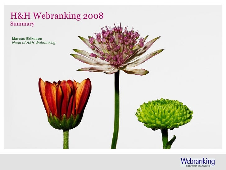 H&H Webranking 2008 Summary Marcus Eriksson Head of H&H Webranking