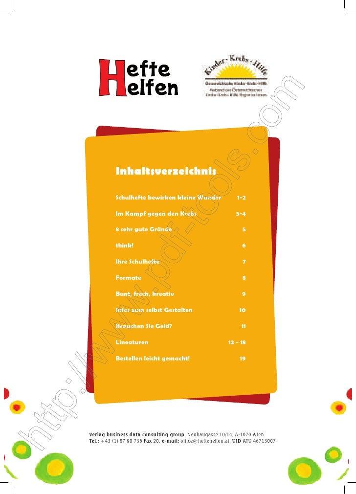 Inhaltsverzeichnis           Schulhefte bewirken kleine Wunder                 1-2           Im Kampf gegen den Krebs   ...