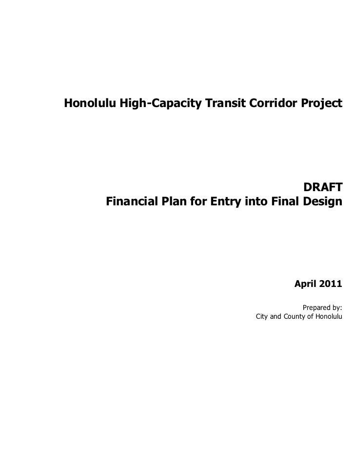 Honolulu Rail draft financial plan for entry into final design april 2011