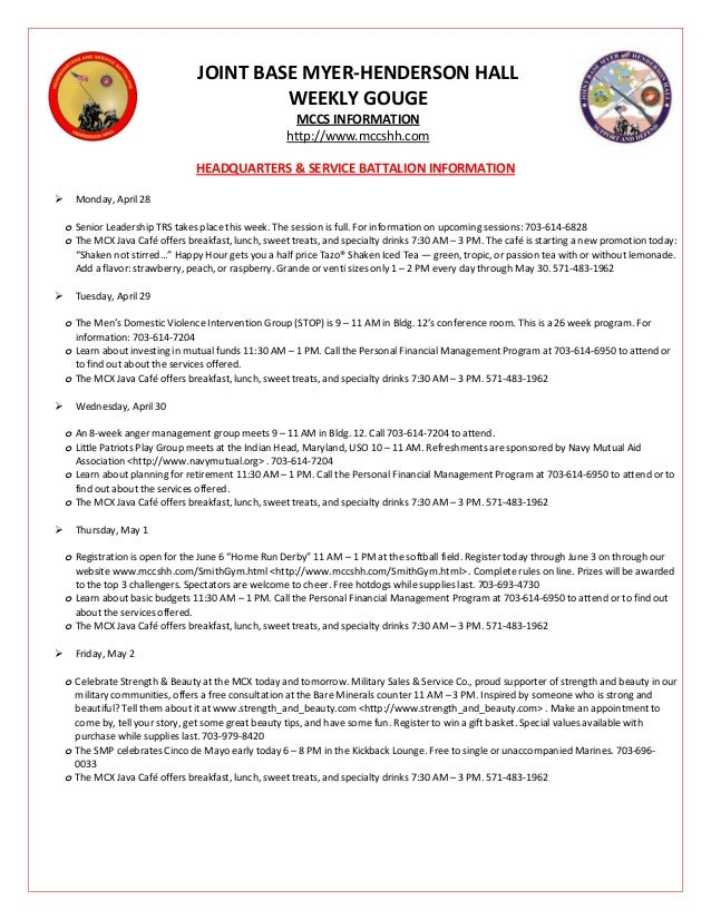 JOINT BASE MYER-HENDERSON HALL WEEKLY GOUGE MCCS INFORMATION http://www.mccshh.com HEADQUARTERS & SERVICE BATTALION INFORM...