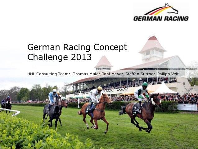 German Racing Concept Challenge 2013 HHL Consulting Team: Thomas Maier, Toni Meyer, Steffen Suttner, Philipp Veit