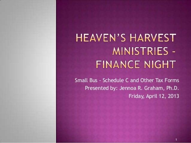 HHM Finance Night - Tax Form Schedule C