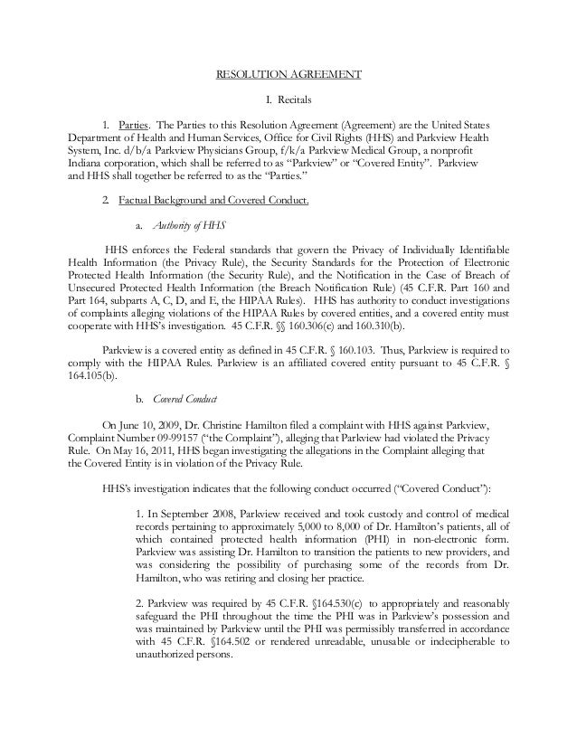 RESOLUTION AGREEMENT I. Recitals 1. Parties. The Parties to this Resolution Agreement (Agreement) are the United States De...