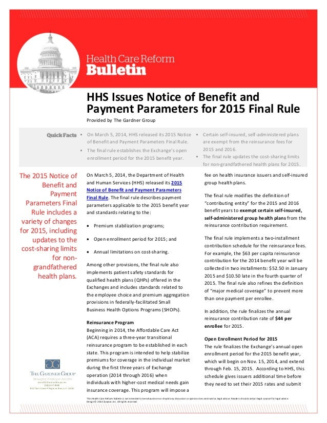 HHS Issues Notice of Benefit and Payment Parameters for 2015 Final Rule