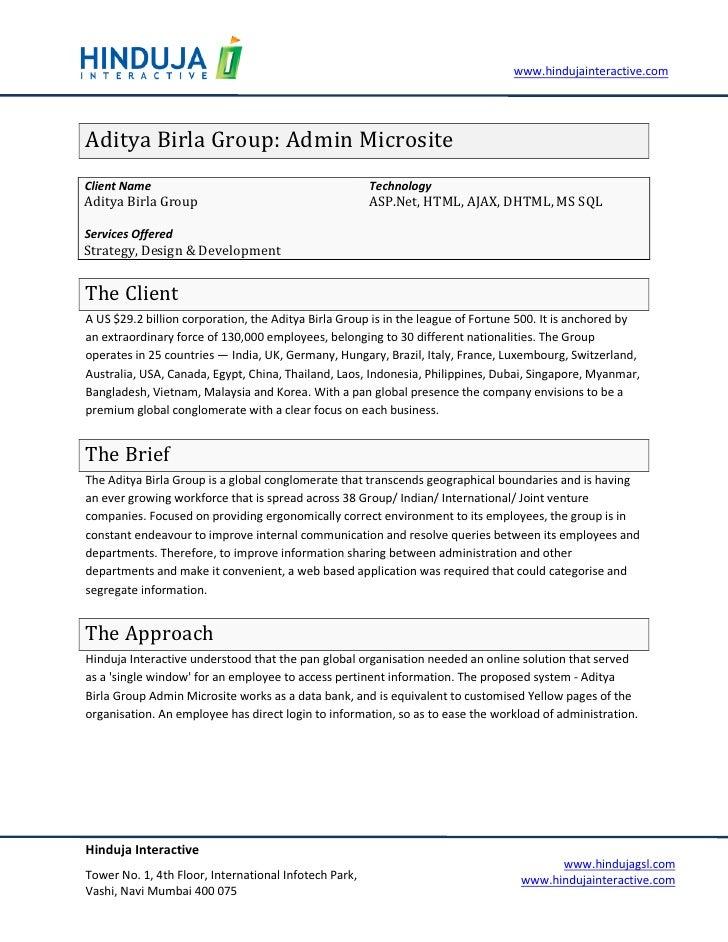 www.hindujainteractive.com     Aditya Birla Group: Admin Microsite Client Name                                            ...
