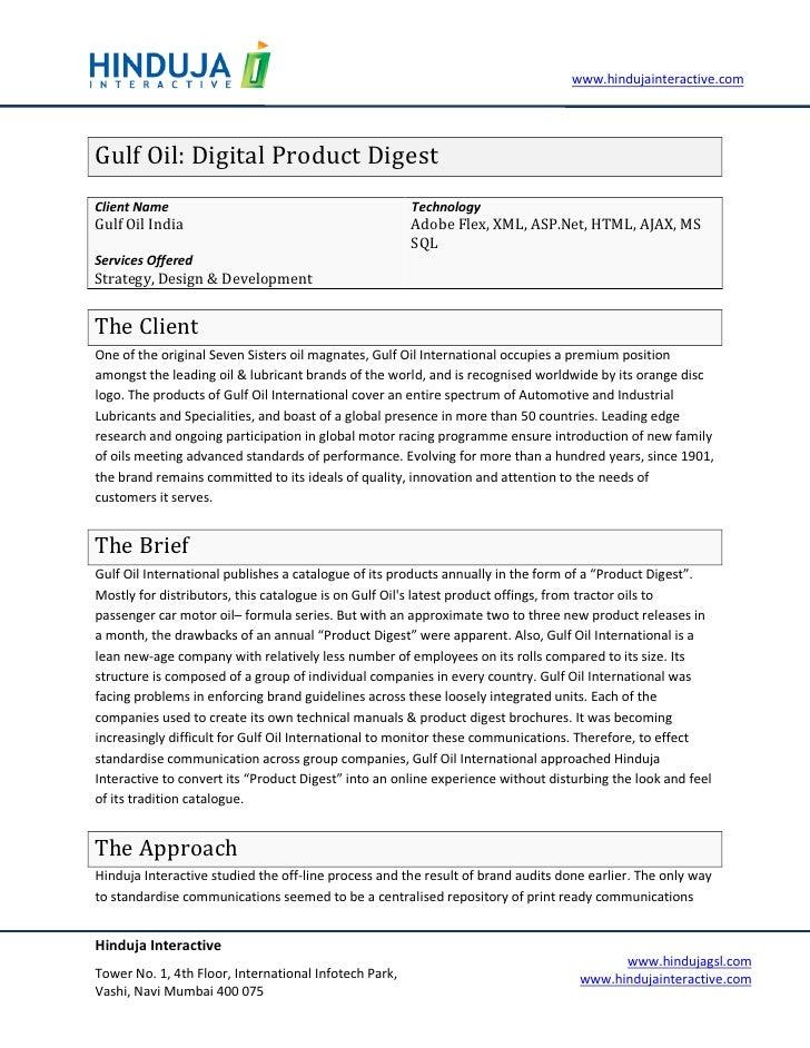 www.hindujainteractive.com     Gulf Oil: Digital Product Digest Client Name                                            Tec...