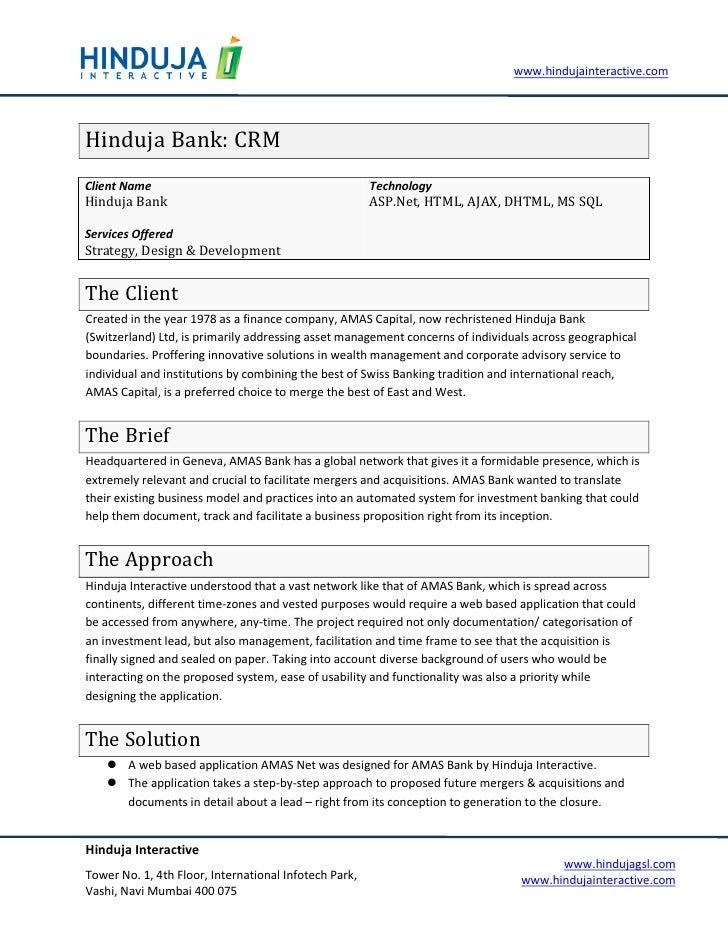 www.hindujainteractive.com     Hinduja Bank: CRM Client Name                                            Technology Hinduja...