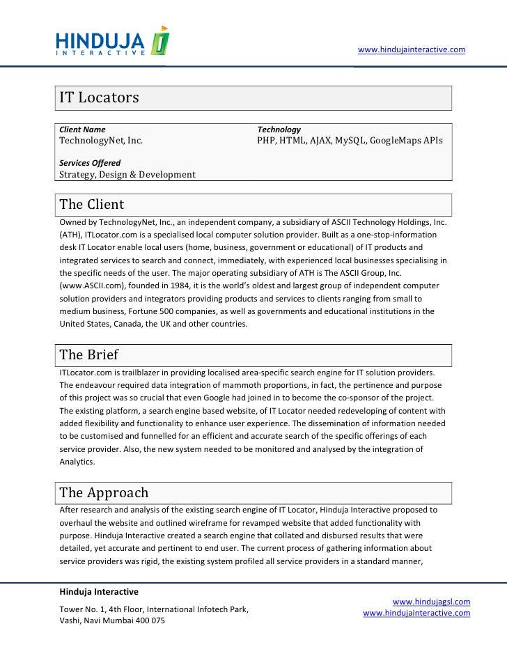 www.hindujainteractive.com     IT Locators Client Name                                            Technology TechnologyNet...