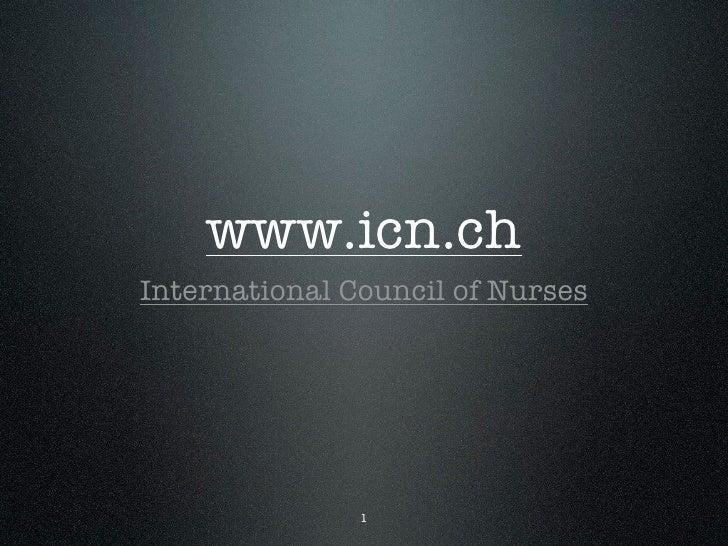 www.icn.ch International Council of Nurses                    1