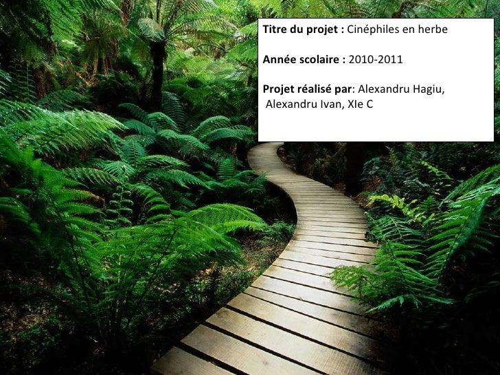 Titre du projet:  Cinéphiles en herbe Année scolaire:  2010-2011 Projet réalisé par : Alexandru Hagiu, Alexandru Ivan, X...