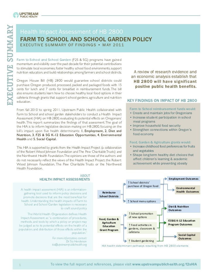 Process, Findings and Implications from Two Health Impact Assessments: Informing Farm to School Policy, Programs and Research - handouts and HIAs