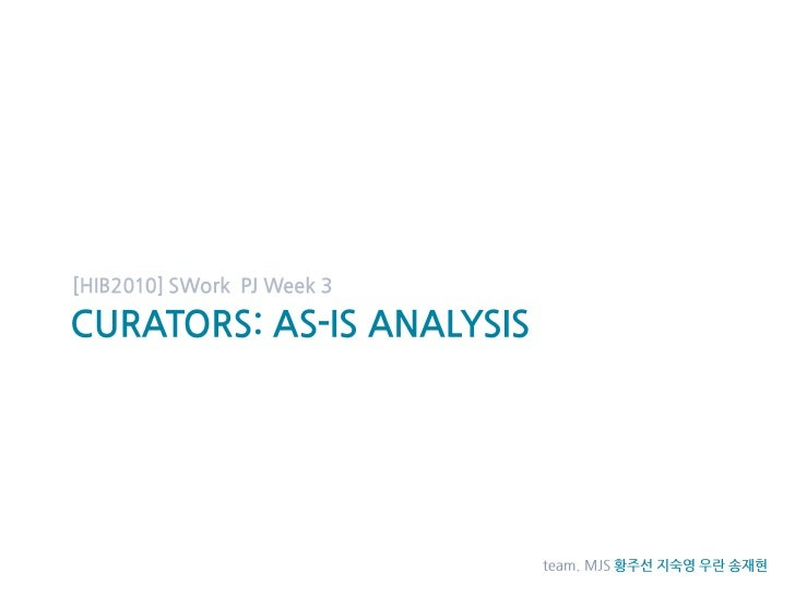 Curators: As-is analysis<br />[HIB2010] SWork  PJ Week 3<br />team. MJS황주선 지숙영 우란 송재현<br />