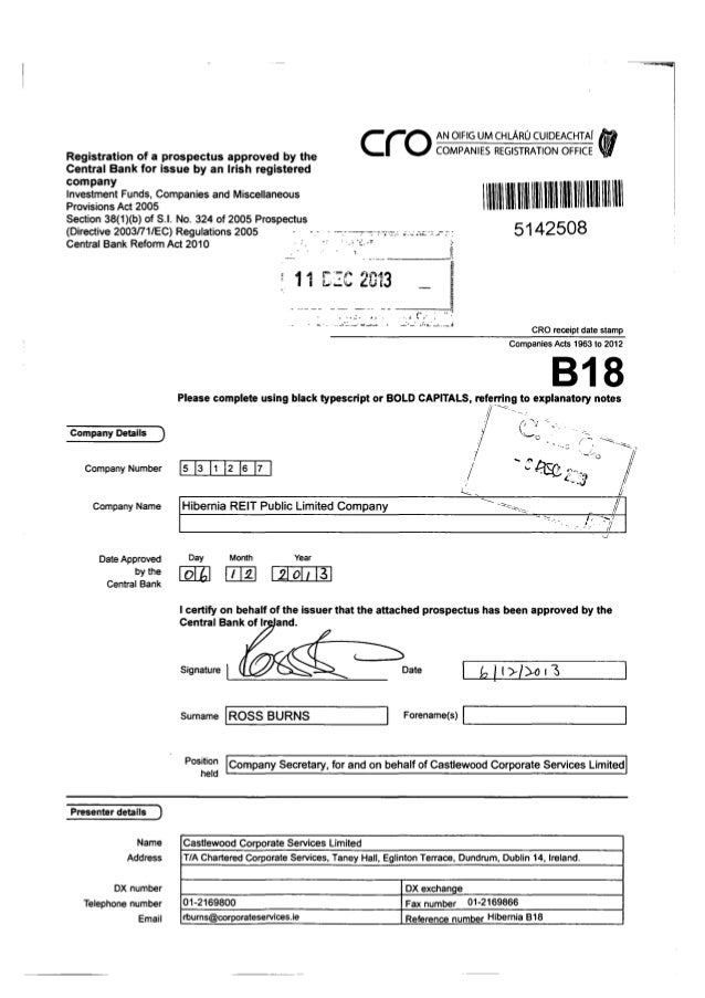 Registration of a prospectus approved by the Central Bank for issue by an Irish registered company  ~o AN OIFIG UM CHLARO ...