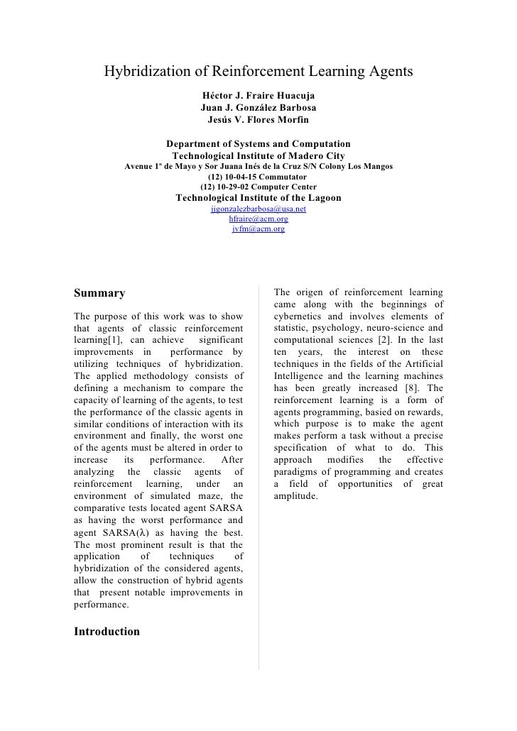 Hybridization of Reinforcement Learning Agents                                 Héctor J. Fraire Huacuja                   ...