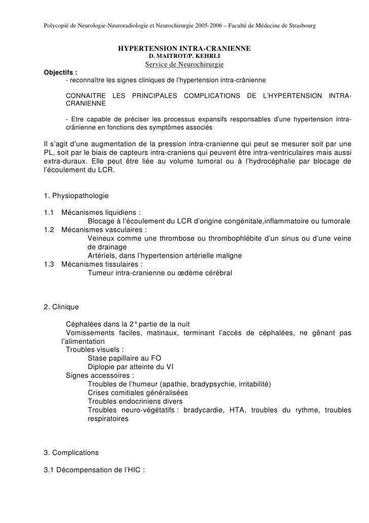 Polycopié de Neurologie-Neuroradiologie et Neurochirurgie 2005-2006 – Faculté de Médecine de Strasbourg                   ...