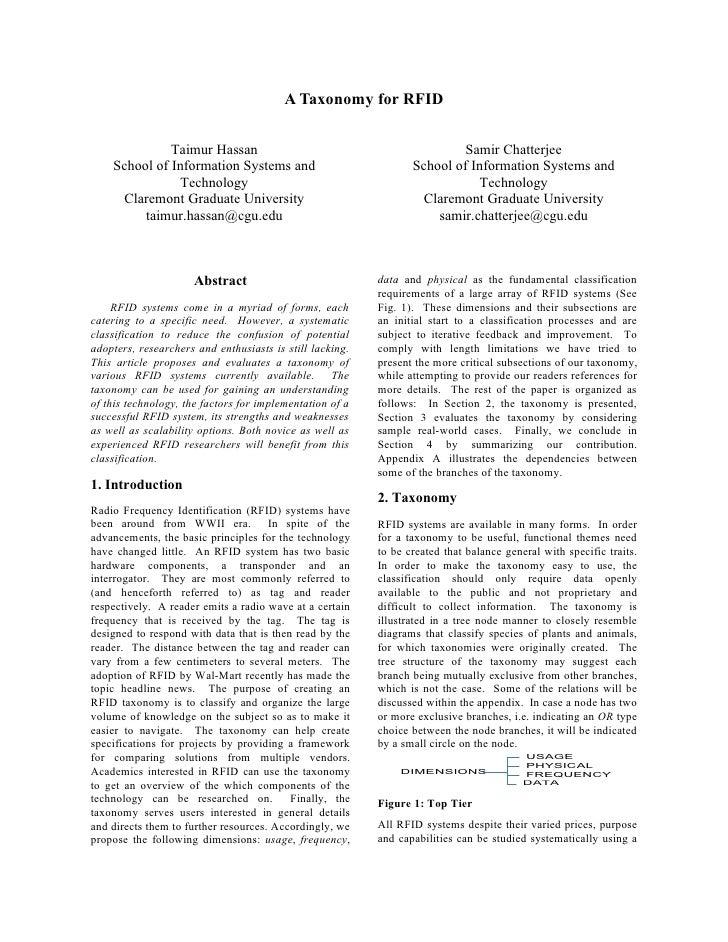 A Taxonomy for RFID                Taimur Hassan                                               Samir Chatterjee     School...