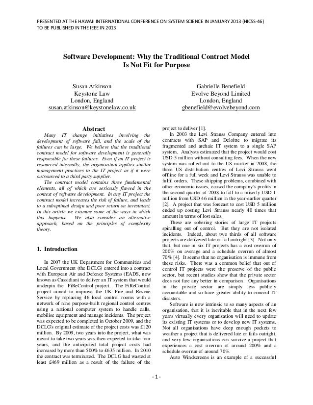 PRESENTED AT THE HAWAII INTERNATIONAL CONFERENCE ON SYSTEM SCIENCE IN JANUARY 2013 (HICSS-46)TO BE PUBLISHED IN THE IEEE I...