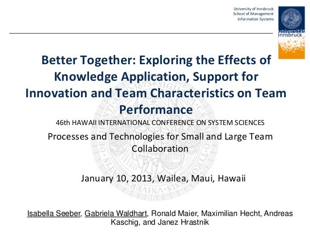 University of InnsbruckSchool of ManagementInformation SystemsBetter Together: Exploring the Effects ofKnowledge Applicati...