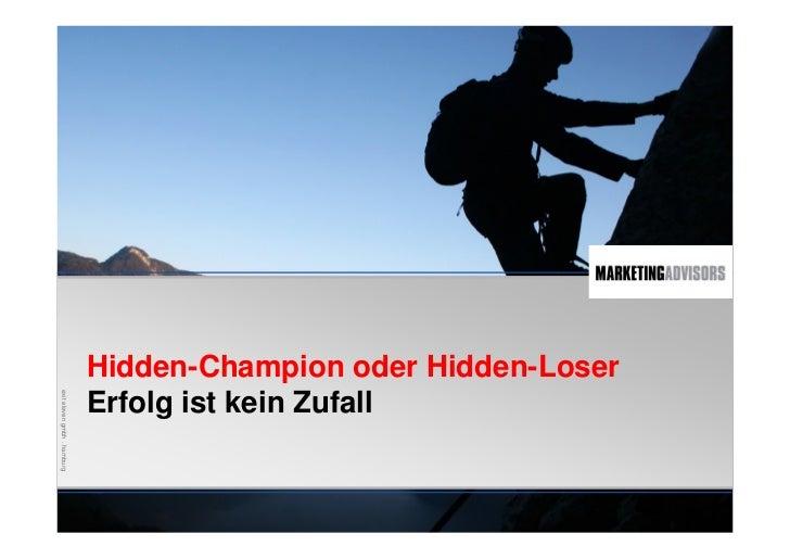 Erfolgreich, wie ein Hidden Champion (unbekannte Weltmarktführer)