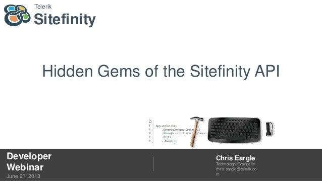 Hidden Gems of the Sitefinity API Webinar