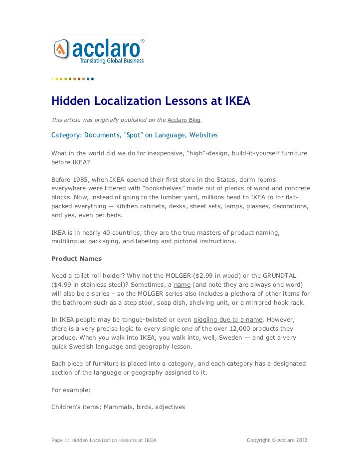 """Hidden Localization Lessons at IKEAThis article was originally published on the Acclaro Blog.Category: Documents, """"Spot"""" o..."""