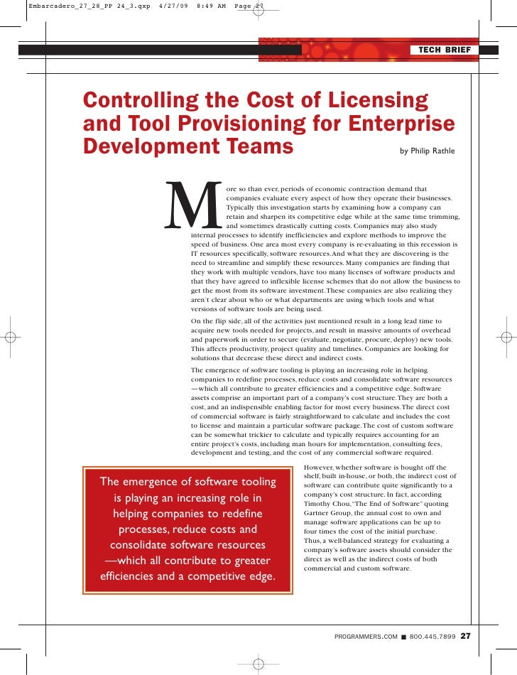 TECH BRIEF     Controlling the Cost of Licensing and Tool Provisioning for Enterprise Development Teams                   ...