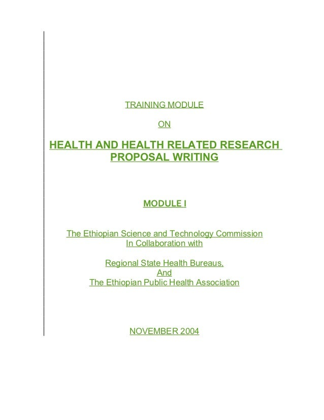 TRAINING MODULE                        ONHEALTH AND HEALTH RELATED RESEARCH         PROPOSAL WRITING                    MO...