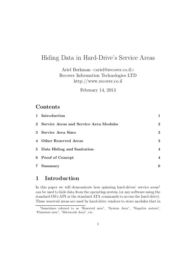 Hiding data in hard drive's service areas