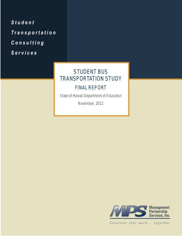 Hidoe student transportation study report