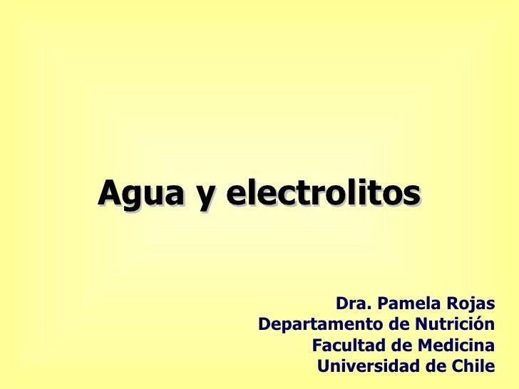Agua y electrolitos Dra. Pamela Rojas Departamento de Nutrición Facultad de Medicina Universidad de Chile