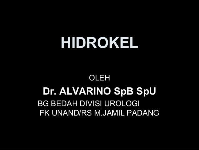 HIDROKEL OLEH Dr. ALVARINO SpB SpU BG BEDAH DIVISI UROLOGI FK UNAND/RS M.JAMIL PADANG