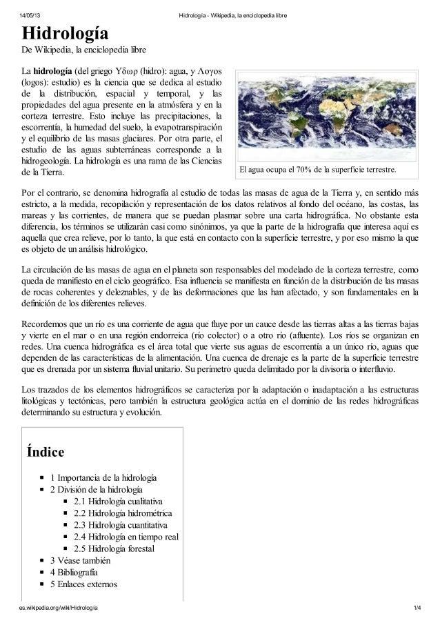 Hidrología   wikipedia, la enciclopedia libre