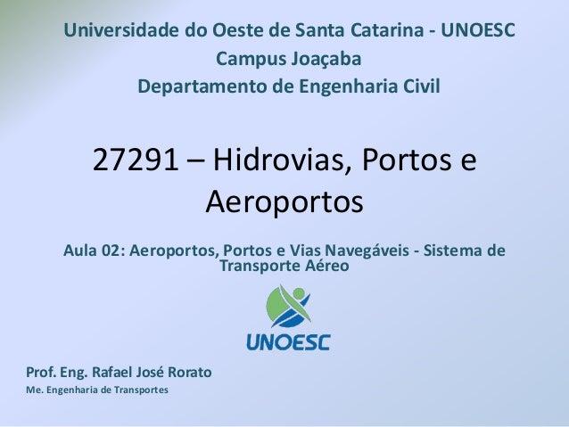 27291 – Hidrovias, Portos e Aeroportos Aula 02: Aeroportos, Portos e Vias Navegáveis - Sistema de Transporte Aéreo Prof. E...