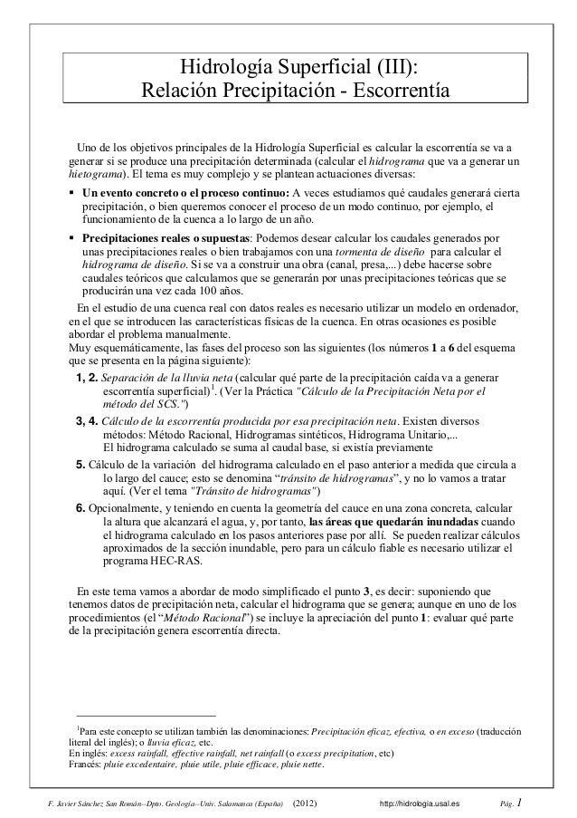 F. Javier Sánchez San Román--Dpto. Geología--Univ. Salamanca (España) (2012) http://hidrologia.usal.es Pág. 1 Hidrología S...
