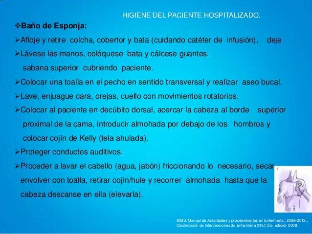 Baño General Del Paciente En Cama:Hiegiene del paciente hospitalizado