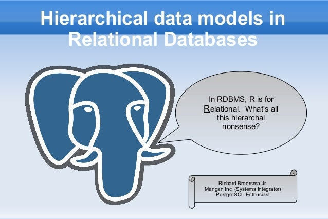 Hierarchical data models inRelational DatabasesIn RDBMS, R is forRRelational. Whats allthis hierarchalnonsense?Richard Bro...
