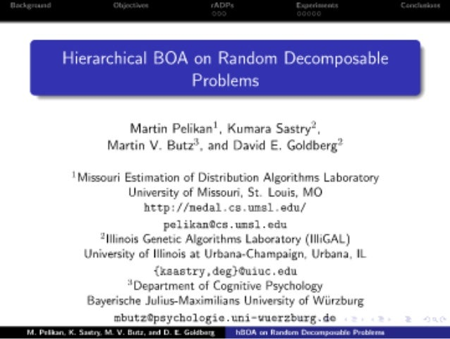 Hierarchical BOA on Random Decomposable Problems