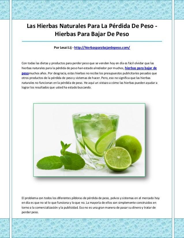 Las Hierbas Naturales Para La Pérdida De Peso -             Hierbas Para Bajar De Peso____________________________________...