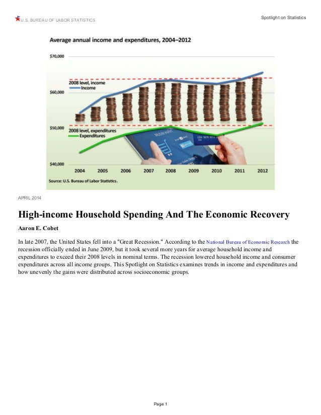 U.S. BUREAU OF LABOR STATISTICS Spotlight on Statistics Page 1 APRIL 2014 High-income Household Spending And The Economic ...