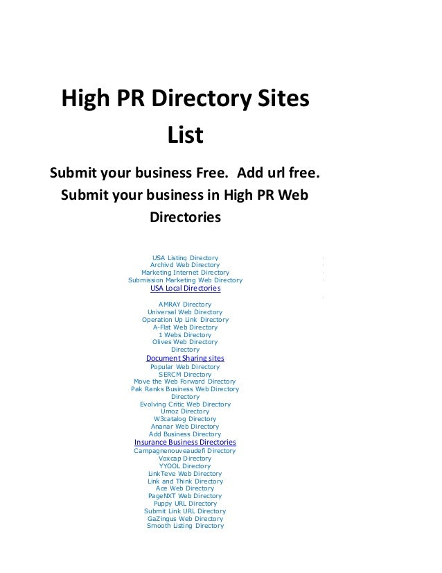 Free directory submission high pr list