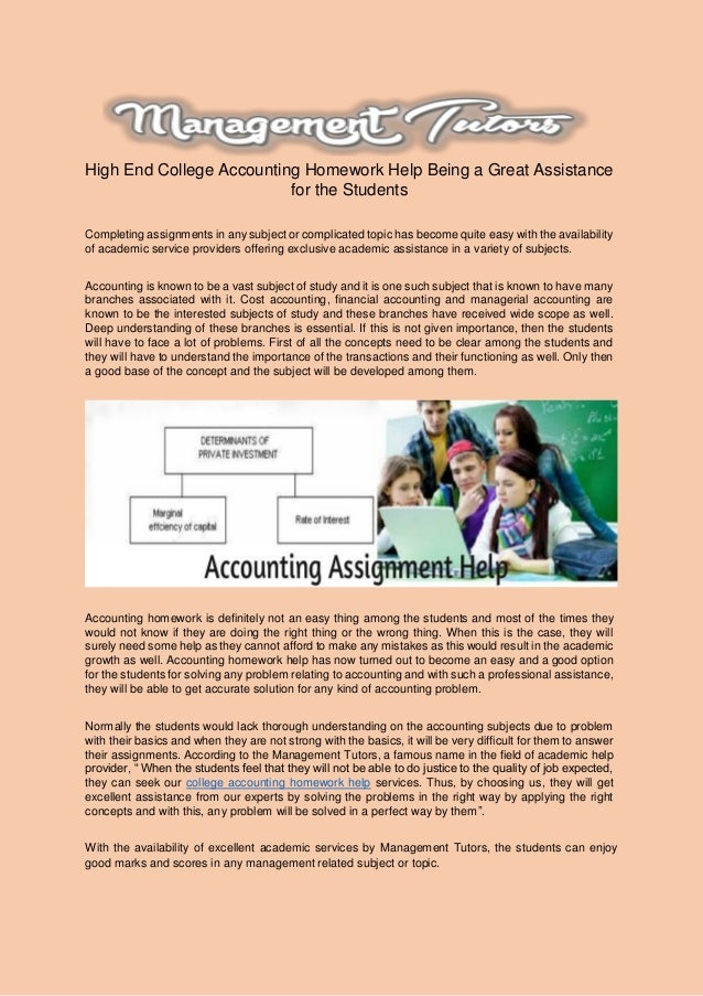 College accounting homework help