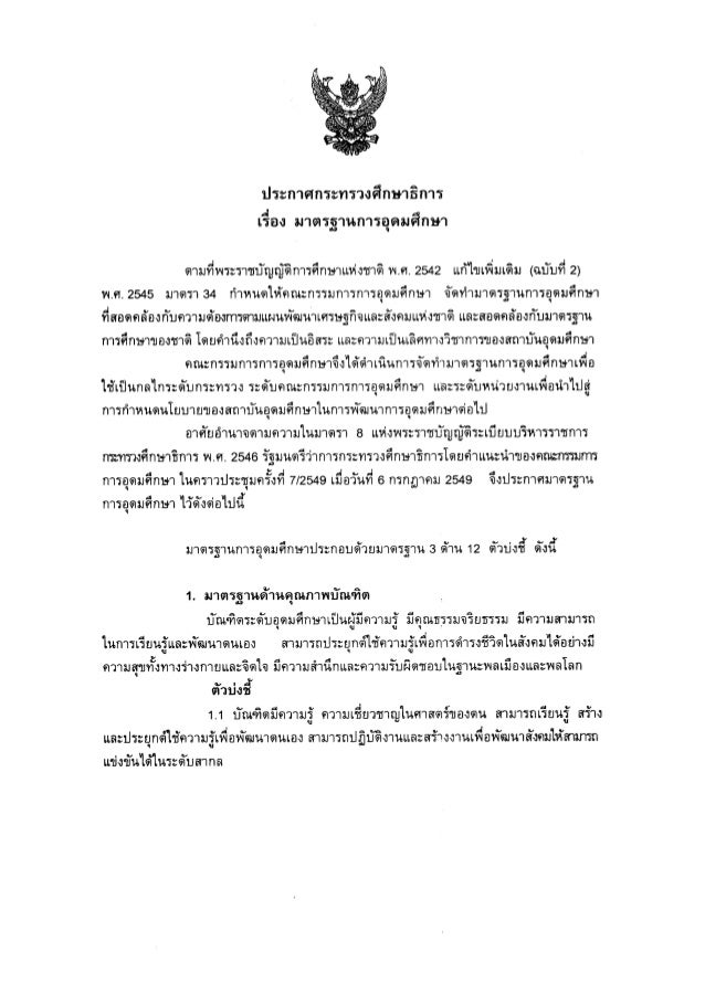 Higher Education Standard : Thailand