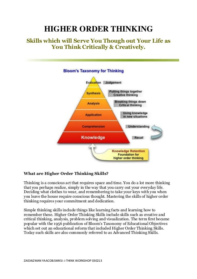 HIGHER ORDER THINKING Skills which will Serve You Though out Your Life as          You Think Critically & Creatively.What ...