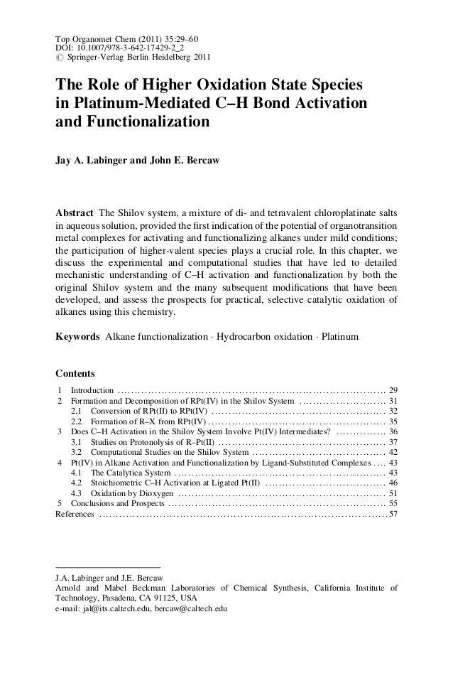 Top Organomet Chem (2011) 35:29–60 DOI: 10.1007/978-3-642-17429-2_2 # Springer-Verlag Berlin Heidelberg 2011 The Role of H...