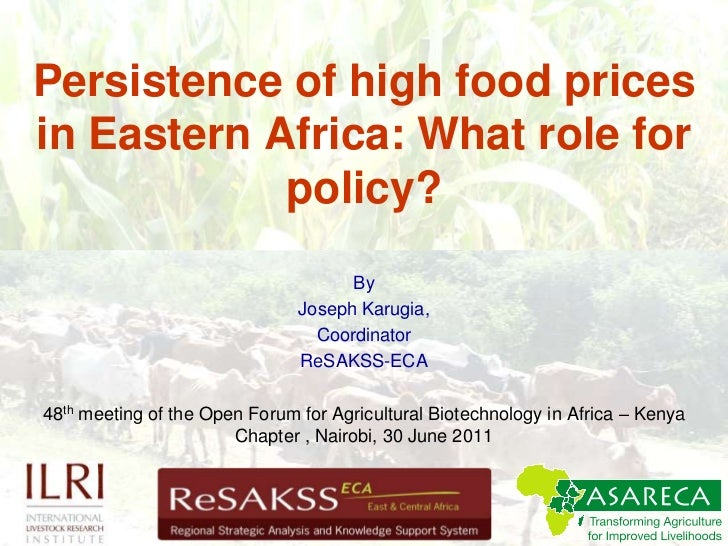 Persistence of high food prices in Eastern Africa: What role for policy?<br />By <br />Joseph Karugia, <br />Coordinator<b...