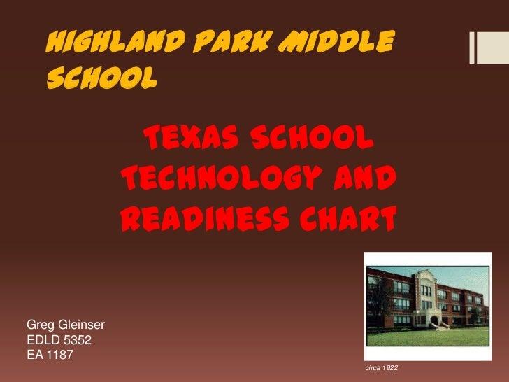 Highland Park Middle School<br />Texas School Technology and Readiness Chart<br />Greg Gleinser<br />EDLD 5352<br />EA 118...