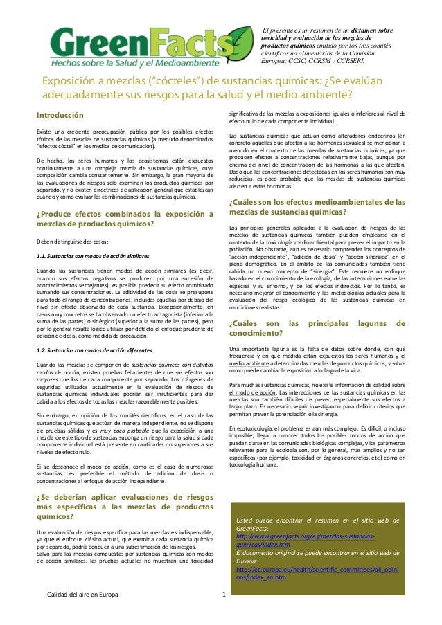 """Exposición a mezclas (""""cócteles"""") de sustancias químicas: ¿Se evalúan adecuadamente sus riesgos para la salud y el medio ambiente?"""