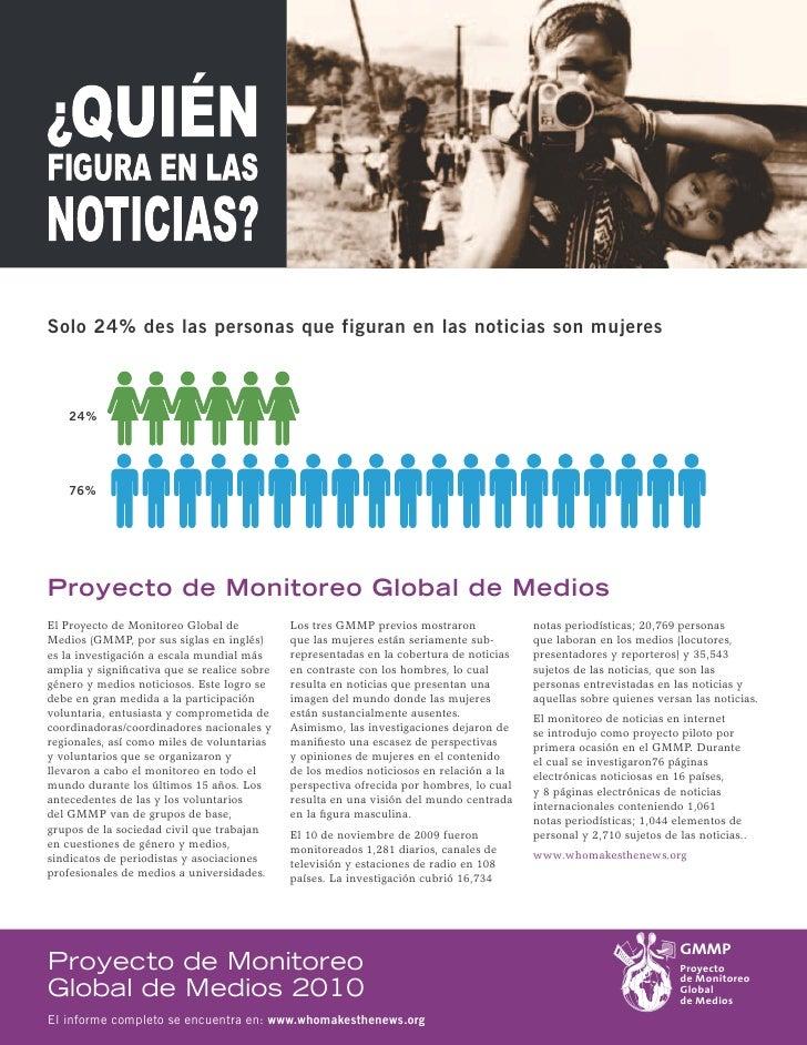 Solo 24% des las personas que figuran en las noticias son mujeres        24%         76%     Proyecto de Monitoreo Global ...